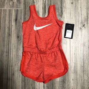 Nike Dry Fit Girls Orange Pink Romper - 3T